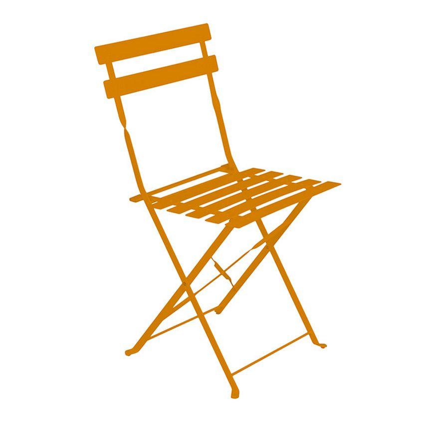 Lot de 2 chaises de jardin pliantes camargue mandarine for Chaises pliantes de jardin