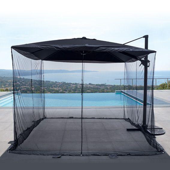 Moustiquaire pour parasol d port carr 3 x 3 m pied et accessoires parasol eminza - Pied pour parasol deporte ...