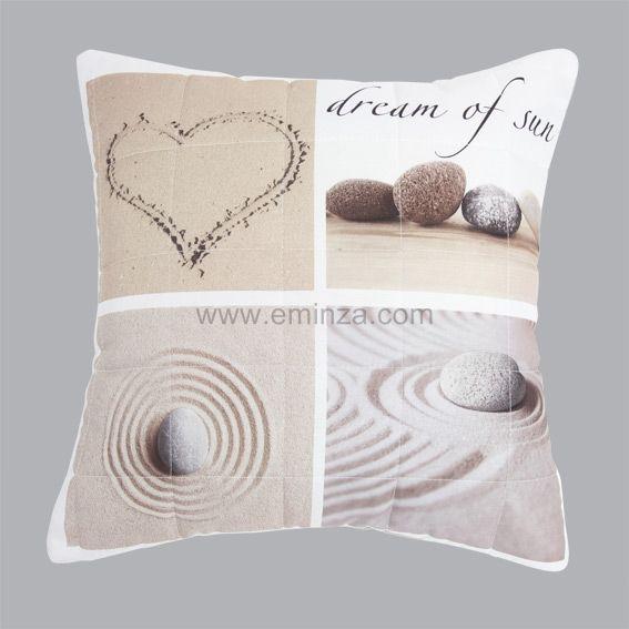 housse de coussin boutis 40 cm dune taupe coussin et housse de coussin eminza. Black Bedroom Furniture Sets. Home Design Ideas