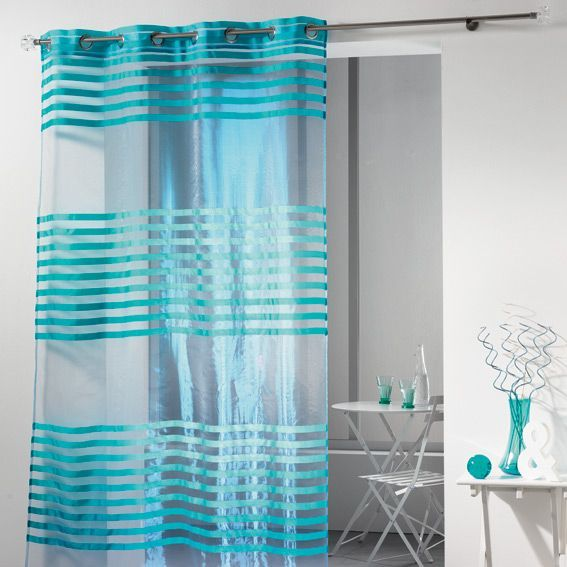 voilage 140 x h240 cm organza fresh turquoise voilage eminza. Black Bedroom Furniture Sets. Home Design Ideas
