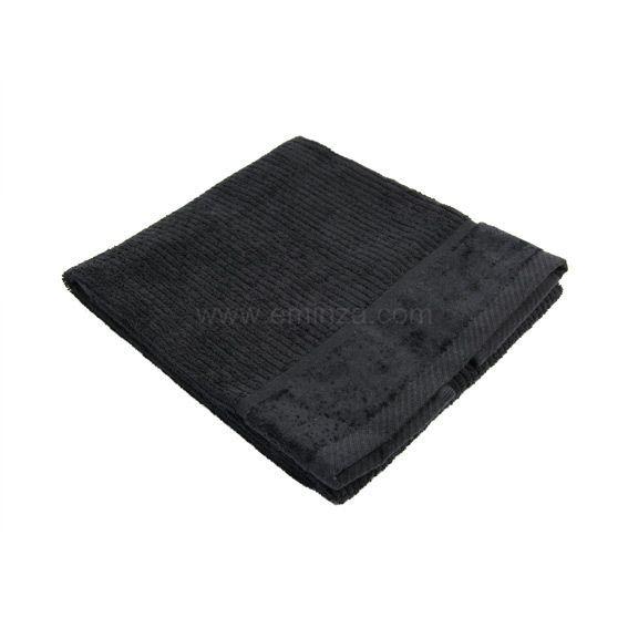 serviette de bain 50 x 90 cm velout noir serviette de bain eminza. Black Bedroom Furniture Sets. Home Design Ideas