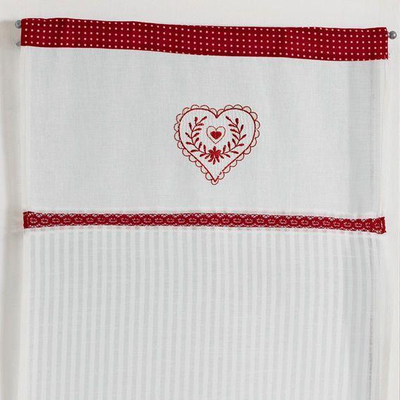 Paire de voilage 60 x h90 cm antan rouge rideau et for Voilage cuisine 60 x 90