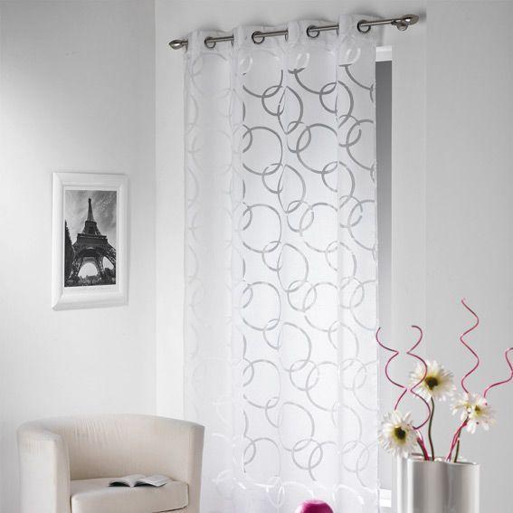 voilage 140 x h240 cm cascade blanc voilage eminza. Black Bedroom Furniture Sets. Home Design Ideas