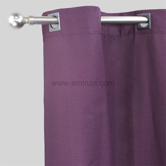 Rideau 140 x h250 cm contemporaine prune rideau tamisant eminza for Rideau prune