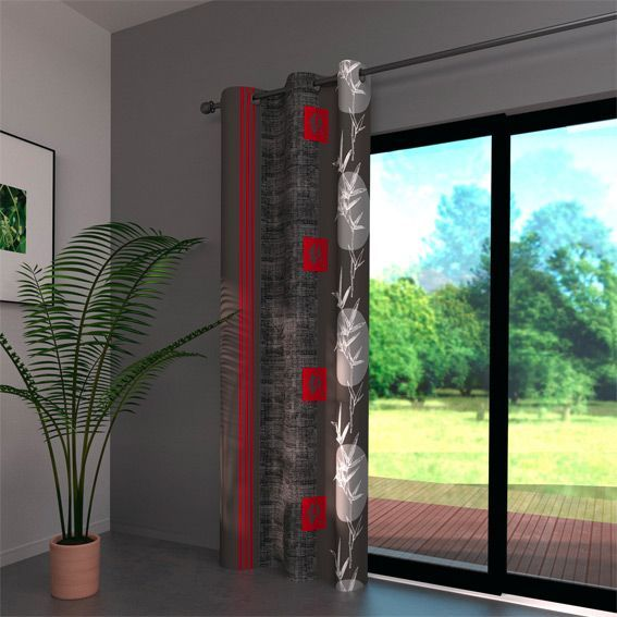 rideau 140 x h250 cm bangkok gris rideau tamisant eminza. Black Bedroom Furniture Sets. Home Design Ideas