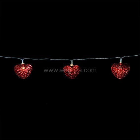 guirlande lumineuse coeur rouge decoration lumineuse eminza. Black Bedroom Furniture Sets. Home Design Ideas