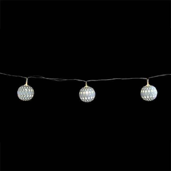 guirlande lumineuse boule m tal jill blanc chaud decoration lumineuse eminza. Black Bedroom Furniture Sets. Home Design Ideas