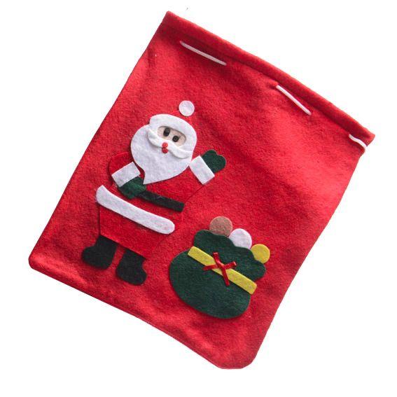 Sac cadeau en tissu p re no l jules rouge emballages cadeaux eminza - Sac cadeau noel ...