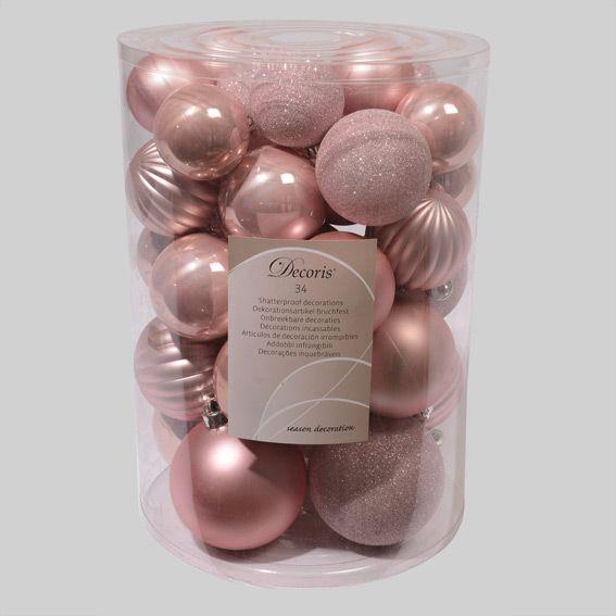 lot de 34 boules de no l assorties alpine rose poudr boule de no l eminza. Black Bedroom Furniture Sets. Home Design Ideas