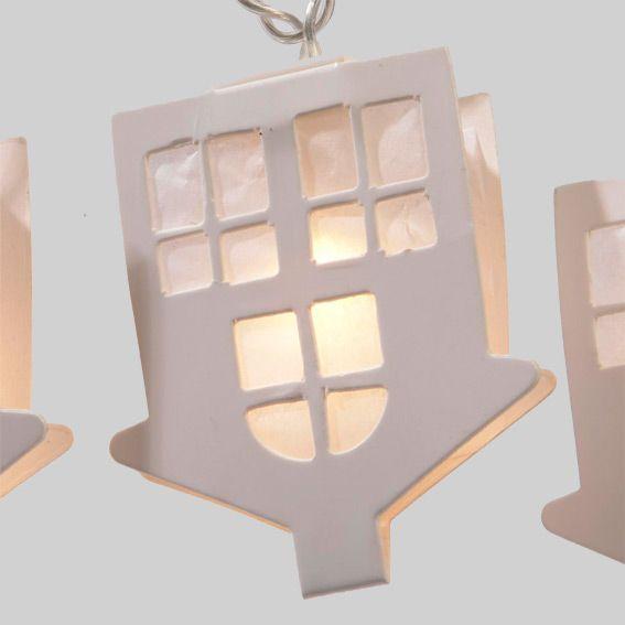Guirlande lumineuse maison en papier blanc chaud 20 led guirlande lumineuse - Guirlande lumineuse maison ...