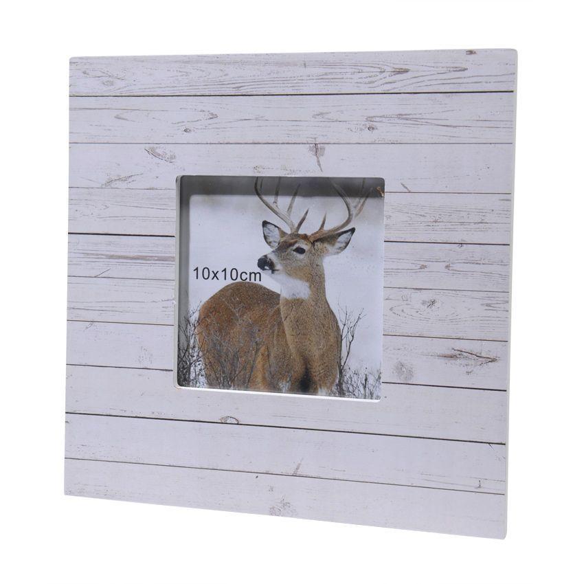 cadre photo carr en bois blanchi el ment de d co eminza. Black Bedroom Furniture Sets. Home Design Ideas