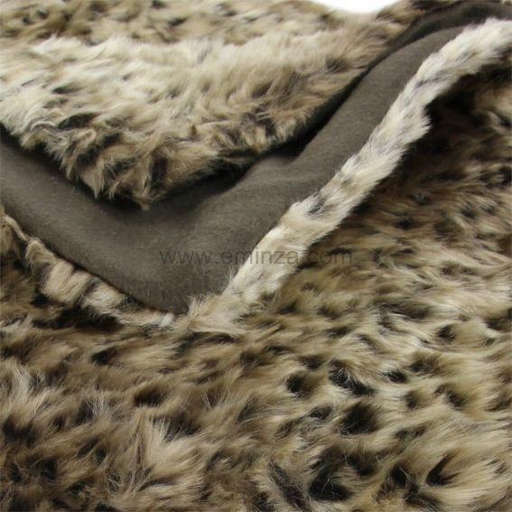 plaid imitation fourrure l opard plaid fausse fourrure eminza. Black Bedroom Furniture Sets. Home Design Ideas