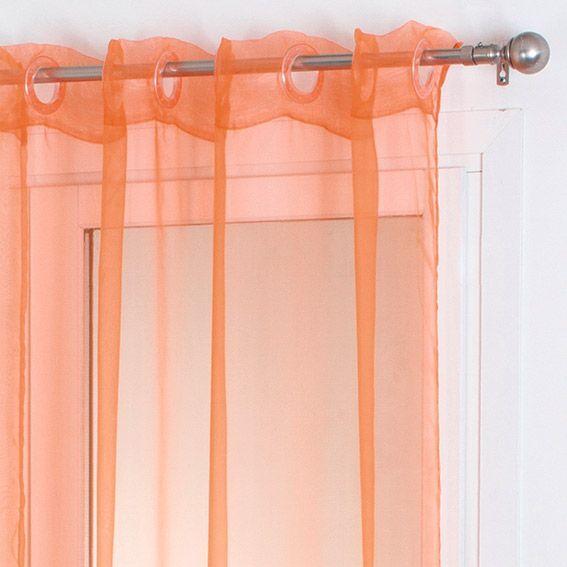 voilage 140 x h240 cm organza uni orange voilage eminza. Black Bedroom Furniture Sets. Home Design Ideas
