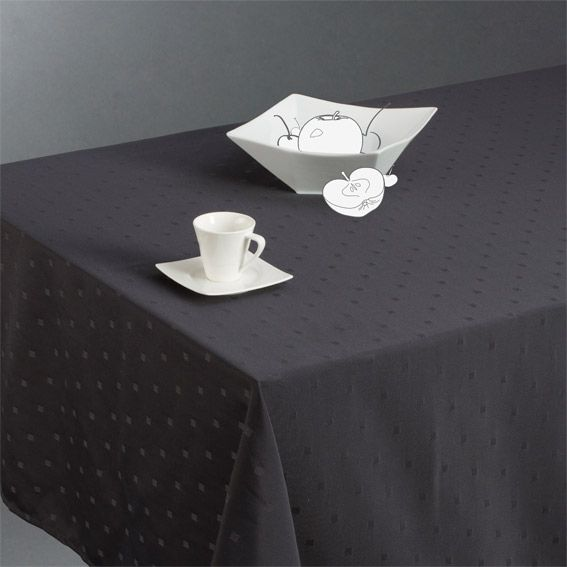 nappe rectangulaire l240 cm jacquard brod anthracite nappe de table eminza. Black Bedroom Furniture Sets. Home Design Ideas