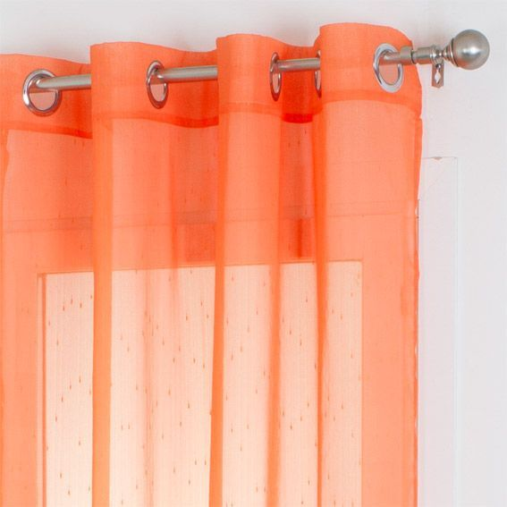voilage 140 x h240 cm silya orange voilage eminza. Black Bedroom Furniture Sets. Home Design Ideas