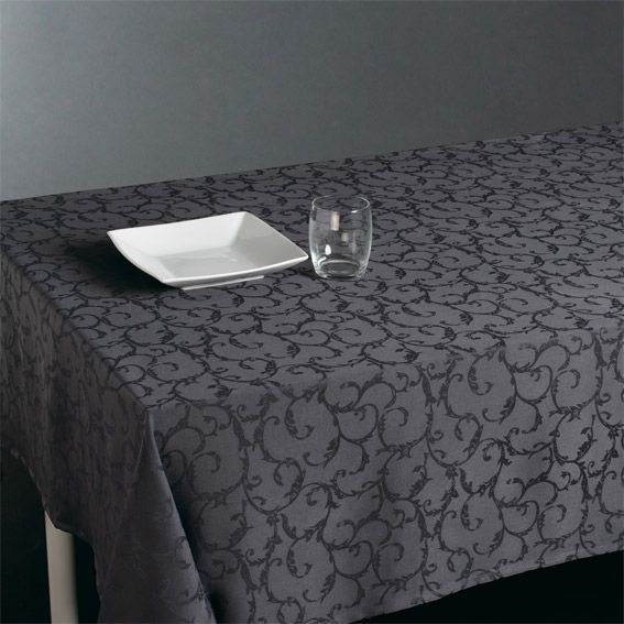 nappe rectangulaire l300 cm jacquard anthracite nappe de table eminza. Black Bedroom Furniture Sets. Home Design Ideas