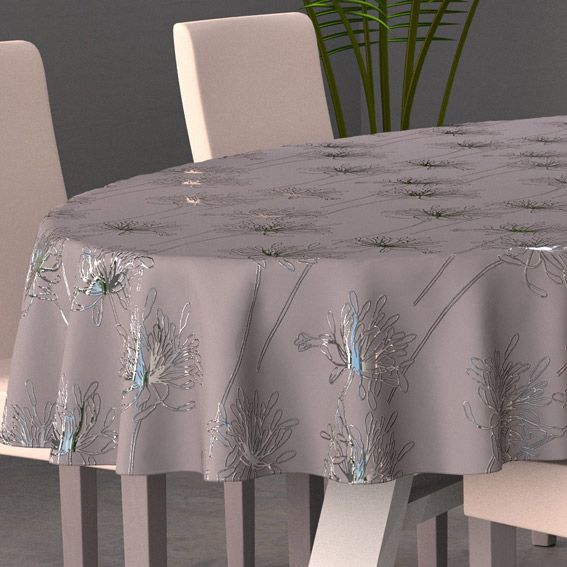 Nappe ovale l230 cm emma gris nappe de table eminza - Set de table ovale ...