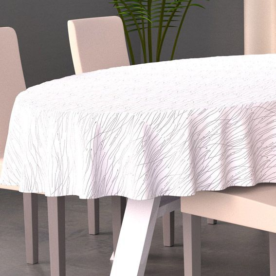 nappe ovale l230 cm glitter blanc linge de table eminza. Black Bedroom Furniture Sets. Home Design Ideas