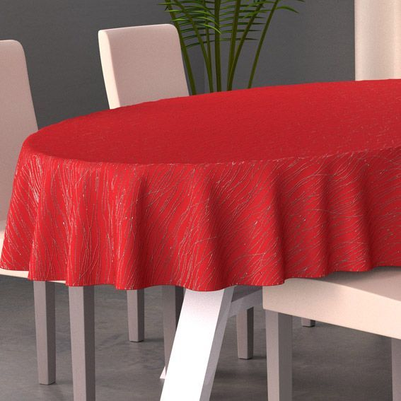 nappe ovale l230 cm glitter rouge nappe de table eminza. Black Bedroom Furniture Sets. Home Design Ideas