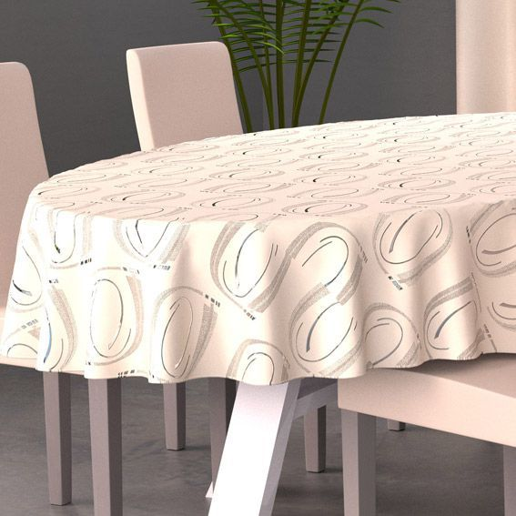 nappe ovale l230 cm jade beige nappe de table eminza. Black Bedroom Furniture Sets. Home Design Ideas
