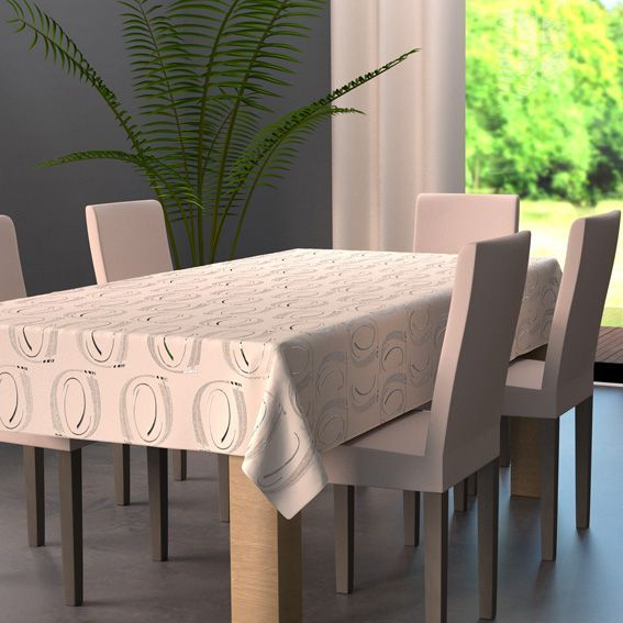 nappe rectangulaire l240 cm jade beige nappe de table eminza. Black Bedroom Furniture Sets. Home Design Ideas