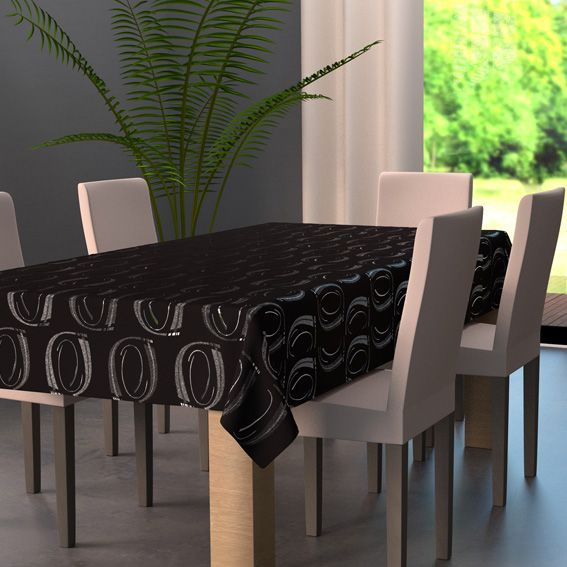 nappe rectangulaire l240 cm jade noir nappe de table eminza. Black Bedroom Furniture Sets. Home Design Ideas