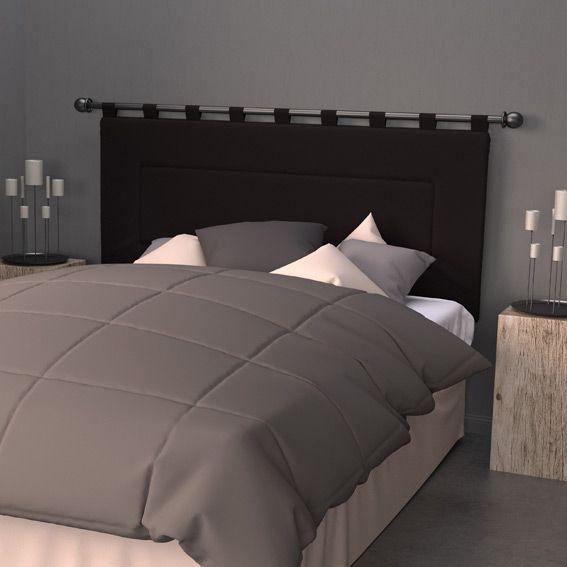 t te de lit 160 cm contemporaine noir t te de lit eminza. Black Bedroom Furniture Sets. Home Design Ideas