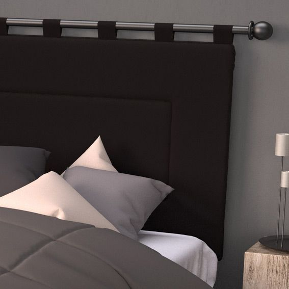 t te de lit 160 cm contemporaine noir t te de lit eminza. Black Bedroom Furniture Sets. Home Design Ideas