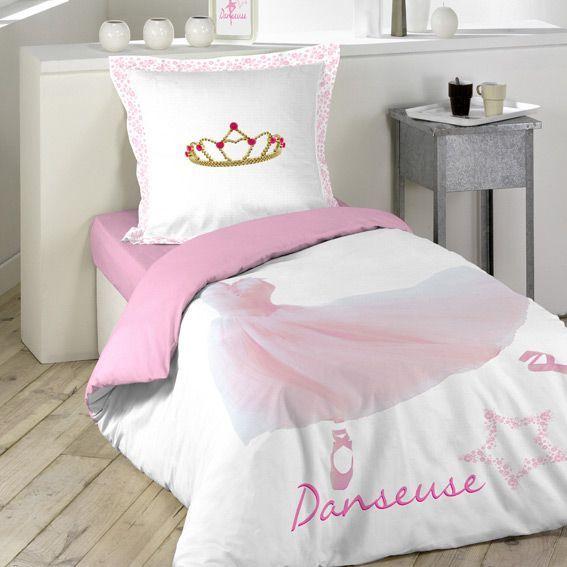housse de couette et une taie 140 cm ballerine housse. Black Bedroom Furniture Sets. Home Design Ideas