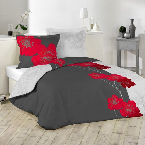 housse de couette grise et rouge design couette 240x260. Black Bedroom Furniture Sets. Home Design Ideas