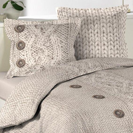 Housse de couette et deux taies 240 cm flanelle laina - Linge de lit en flanelle ...