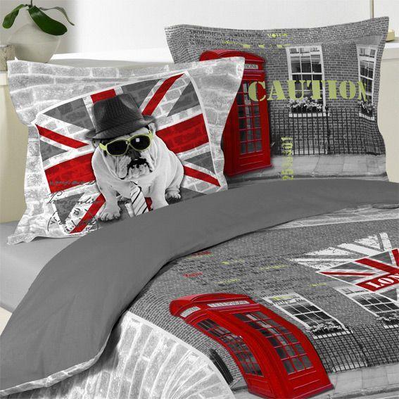 Housse de couette et deux taies 240 cm british style - Housse de couette style industriel ...