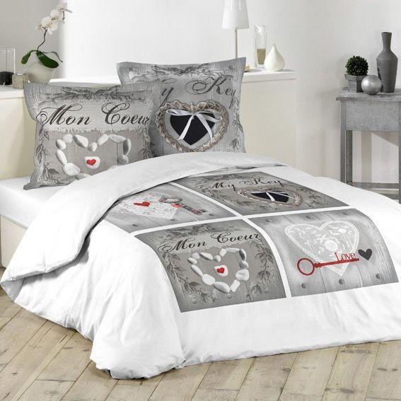 housse de couette et deux taies 260 cm cle d 39 amour. Black Bedroom Furniture Sets. Home Design Ideas