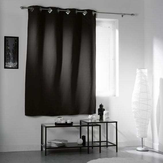 rideau occultant 140 x h180 cm cocoon noir rideau occultant eminza. Black Bedroom Furniture Sets. Home Design Ideas