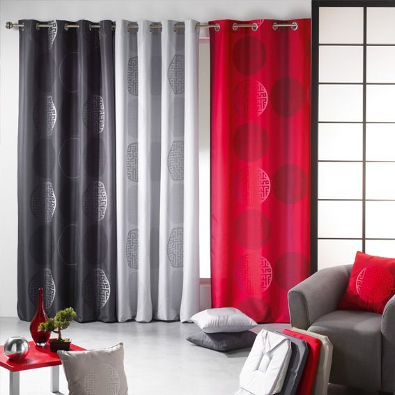 rideau 140 x h260 cm kosmo rouge rideau tamisant eminza. Black Bedroom Furniture Sets. Home Design Ideas