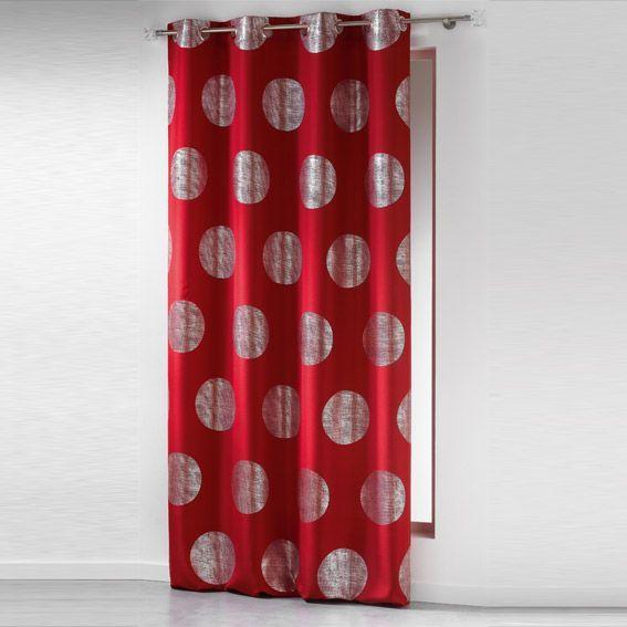 Rideau de salon beige et rouge : Rideau x h cm platine rouge