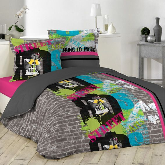 housse de couette et deux taies 140 cm street art. Black Bedroom Furniture Sets. Home Design Ideas