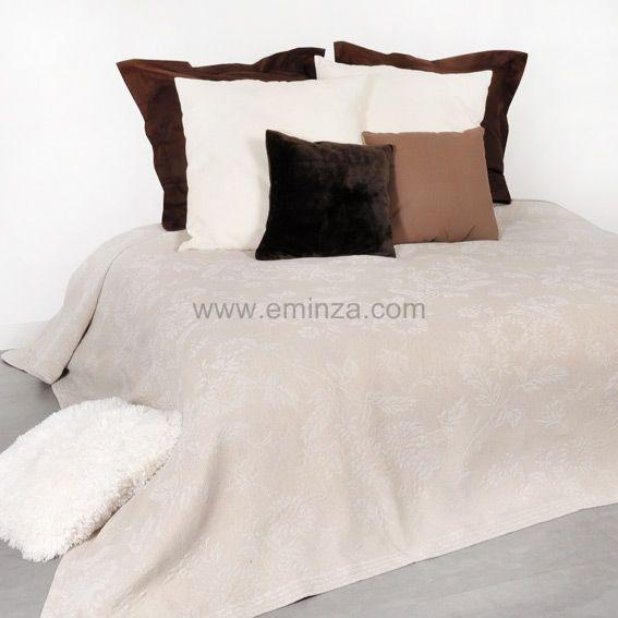 couvre lit 220 x 250 cm thea lin couvre lit boutis eminza. Black Bedroom Furniture Sets. Home Design Ideas