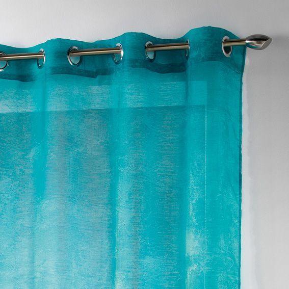 voilage 140 x h240 cm opak turquoise voilage eminza. Black Bedroom Furniture Sets. Home Design Ideas