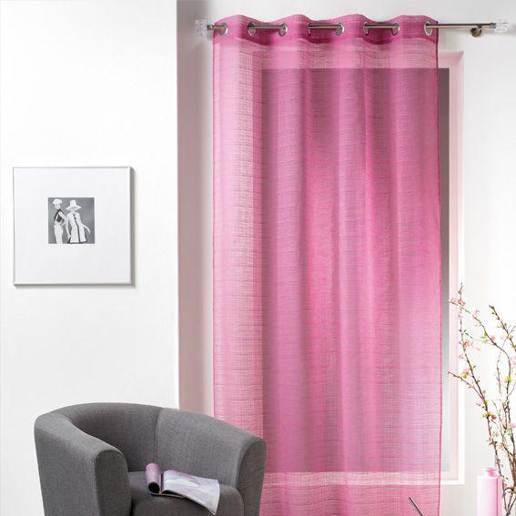 voilage 135 x h240 cm caracas rose voilage eminza. Black Bedroom Furniture Sets. Home Design Ideas