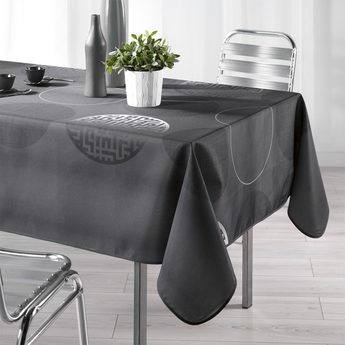 Nappe rectangulaire l240 cm kosmo anthracite nappe de for Nappe et serviettes de table