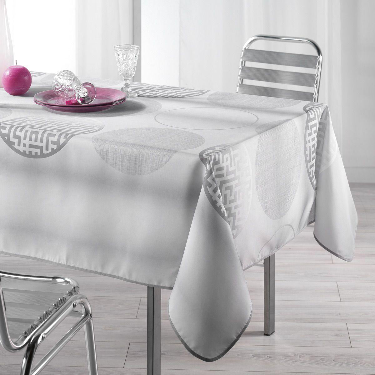 Nappe rectangulaire l240 cm kosmo gris nappe de table for Nappe de table rectangulaire