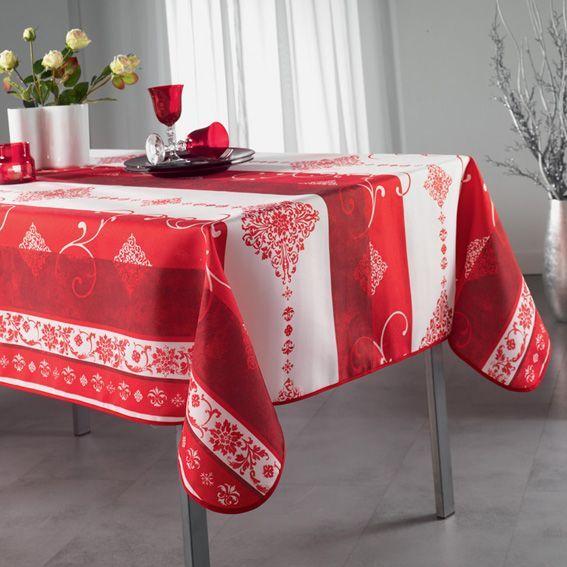nappe rectangulaire l300 cm festive rouge nappe de table eminza. Black Bedroom Furniture Sets. Home Design Ideas