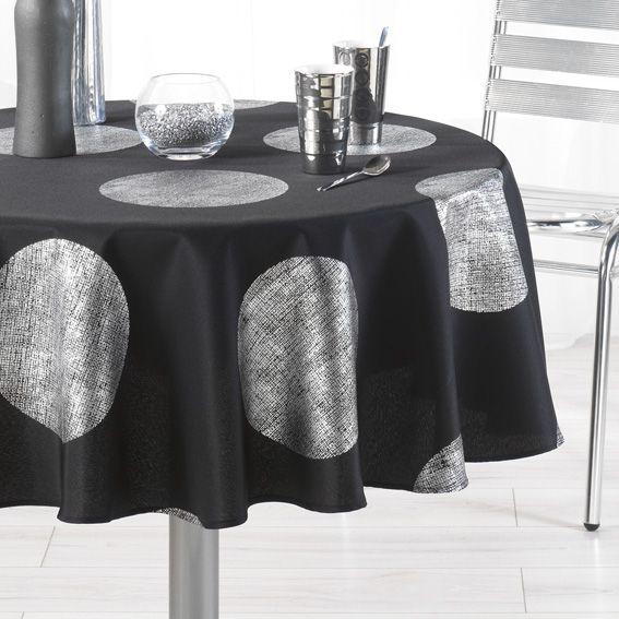 Nappe ronde d180 cm platine noir nappe de table eminza - Table ronde nappe ...