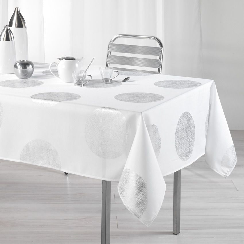 nappe rectangulaire l240 cm platine blanc nappe de table eminza. Black Bedroom Furniture Sets. Home Design Ideas