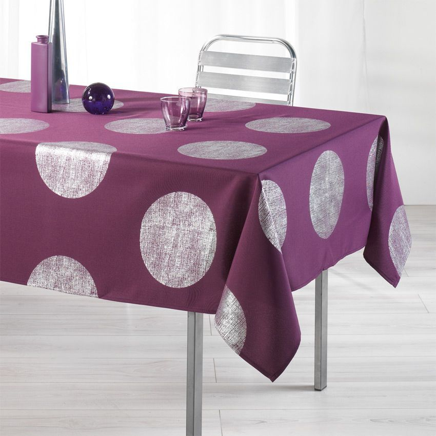 nappe rectangulaire l240 cm platine prune nappe de table eminza. Black Bedroom Furniture Sets. Home Design Ideas