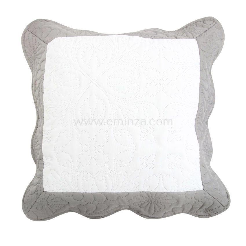 Housse de coussin boutis 45 cm emma gris housse de for Housse de coussin gris