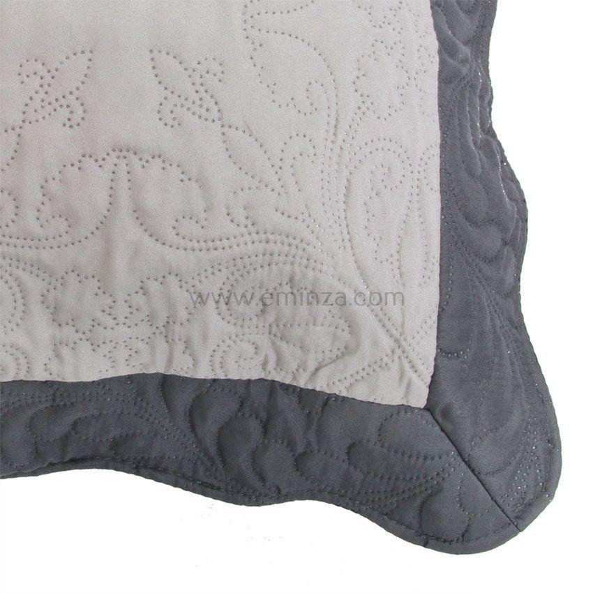 housse de coussin boutis 45 cm emma gris anthracite coussin et housse de coussin eminza. Black Bedroom Furniture Sets. Home Design Ideas