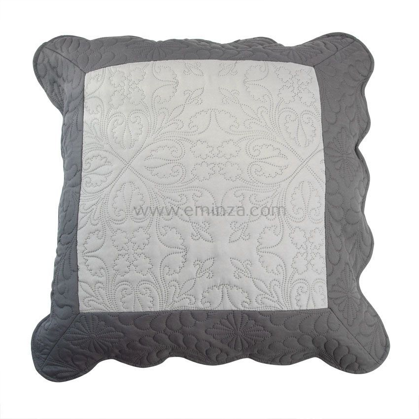 housse de coussin boutis 60 cm emma gris anthracite. Black Bedroom Furniture Sets. Home Design Ideas