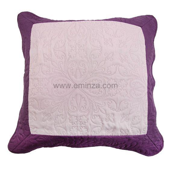 Housse de coussin boutis 60 cm emma prune housse de coussin eminza - Coussin couleur prune ...